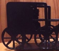 """Horse & Buggy Carriage Black Silhouette Stagecoach Wagon Napkin Holder 6"""""""