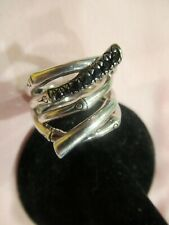 John Hardy Bamboo Black Sapphire Sterling Silver Ring   size 7