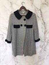 diane von furstenberg vintage Womens Pea Coat Size 4 Gray Black Wool Velvet Trim