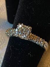 Antique 14kt White Gold .92 Mine Cut Diamond Engagement Ring Size 7.5