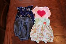 4 pc. girl clothing lot NB/0-3 one pieces/rompers/bubbles