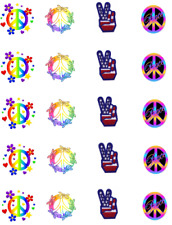 70's Retro  Peace Signs Waterslide  / Water Transfer Nail Decals/Nail Art
