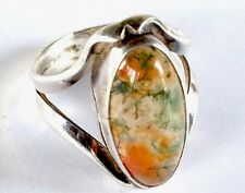 Vintage Sterling Silver & Moss Agate Cabochon Ring Size L / Us 5.75