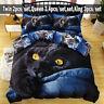 3D Lazy Black Cat Bedding Set Duvet Cover Comforter Cover Pillow Case cat Queen