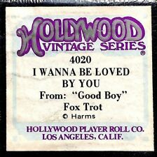 """HOLLYWOOD Vintage I WANNA BE LOVED BY YOU """"Good Boy"""" 4020 Player Piano Roll"""