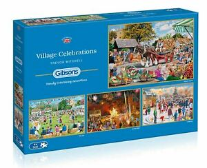 Gibsons Village Celebrations  Jigsaw Puzzles (4 x 500 Pieces) - DAMAGED