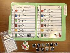 Beary Goodwork's Addition Math File Folder Game Center Kindergarten First Grade