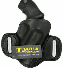 "TAGUA BLACK LEATHER OPEN TOP OWB BELT HOLSTER-TAURUS 85 605 650 2"" REVOLVER"