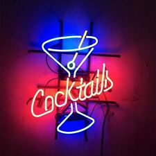 """17""""x14"""" Cocktails Martini Glass Neon Light Sign Display Beer Bar Pub Club Store"""