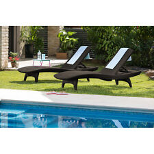 Brown Resin Wicker 2-Piece Patio Chaise Lounger Chair Set Home Outdoors Poolside
