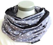 XXL Loop Stillschal Schlauchschal extrabreit Sterne grau-weiß Handarbeit