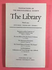 THE LIBRARY - The Bibliographical Society - Fifth Series Vol.XXX No.1 March 1975