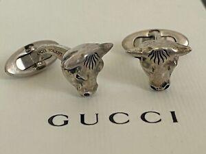 NIB Gucci Anger Forest Bull Head Sterling Silver Antique Finish Cufflinks $795