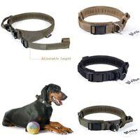 HEAVY DUTY Tactical Adjustable Nylon Dog Collar w/ Strong Handle Metal Buckle