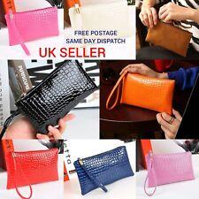 Women Leather Crocodile Pattern Detached Wristband Evening Clutch Bag Zip Purse
