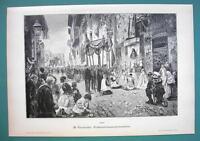 CORPUS CHRISTI Procession CIty Street - VICTORIAN Era Print
