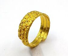 INDIAN ANTIQUE STYLE 22 K YELLOW GOLD RING NICE VINTAGE DESIGN IND