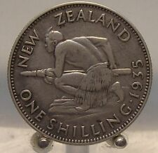 1935 New Zealand Silver 1 Shilling Old World Silver Coin