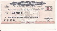 8-11-1976 CREDITO ARTIGIANO MILANO PER ASS.NE ARTIGIANI MI MINI ASSEGNO L. 100