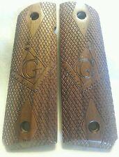Full size 1911 Walnut Free Mason Grips, Checkered with Masonic Symbol