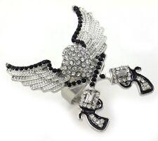 Clear Texas Western Cowgirl Dual Revolver Pistol Gun Heart Angel Wing Ring Charm