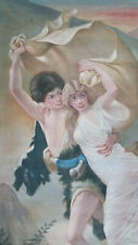 Antique French HAND PAINTED TAPESTRY-THE STORM after Pierre Auguste Cot 40x72