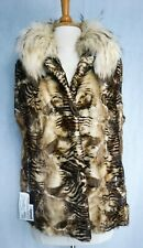 Saks Dyed Animal Print Mink Vest with Raccoon Stand Collar New W/ Tags
