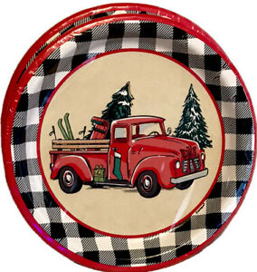 "Vintage Red Truck Christmas Paper Plates, 8"" Lot of 16 Plates, NEW"