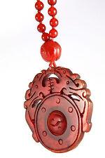 Vintage Chinese Hand Carved Carnelian Prayer Wheel Estate Pendant Bead Necklace