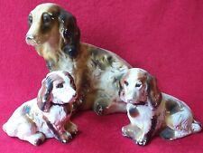 More details for vintage spaniel dog figurines ornament ceramic chalk very rare