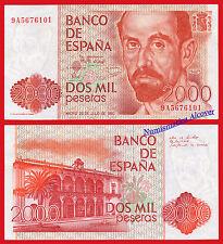 2000 pesetas 1980 J.Ramón Jiménez SERIE 9A SC-  SPAIN P 159  aUNC REPLACEMENT