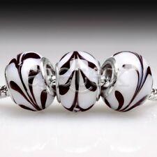 5pcs Murano Glass European Spacer Beads Lampwork Fit Bracelet Chain LB0077 FB