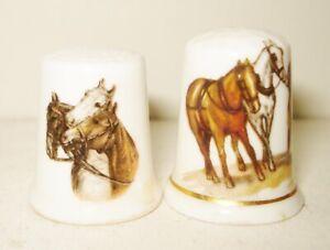 VINTAGE 2 ENGLISH FENTON CHINA THIMBLE SET BIRCHCROFT HORSE DESIGN NR