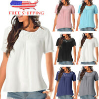 NEW Spring Summer Womens Casual Short Sleeve Lace Patchwork T Shirt Tops Blouse