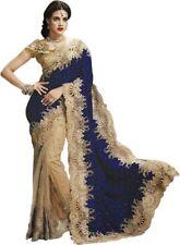 Designer bollywood indian saree pakistani wedding sari blue velvet party wear 20