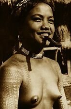 VINTAGE ETHNIC TATTOO NUDE PHILIPPINES CIGAR SMOKER TRIBAL BODY ART DESIGN PHOTO