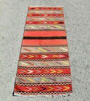Ethnic Vintage Turkish Runner Rug Traditional Handmade Oushak Kilim Rug 2x5 ft.