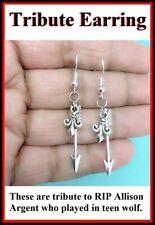 Tribute Earrings; Arrow with Fluer de Lis Pendant Dangle Silver Earrings.