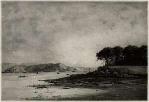 CHARLES HENRY BASKETT (1872-1953) Signed Aquatint Etching CREMYLL POINT PLYMOUTH