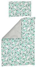 Cot Duvet Cover and Pillowcase Set 100 x 135 cm 100% COTTON green zoo&grey strip