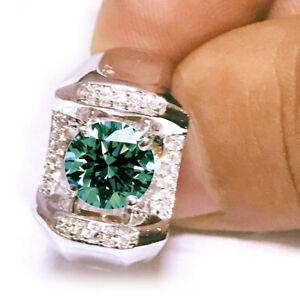4.41 Ct Vvs1;=NATURAL GRAY BLUE REAL MOISSANITE DIAMOND 925 SILVER MEN'S RING