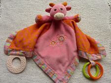 Mary Meyer Baby Pink Cow Blankie With Teething Rings