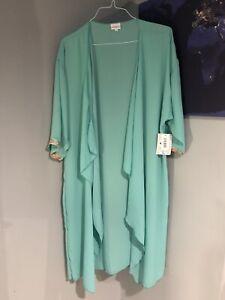 LulaRoe sea-foam green sheer over size Large Shirley Kimono cover up open front