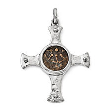 Coin Cross Pendant .925 Sterling Silver Bronze Charm Ancient Coins Widows Mite