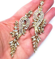 Chandelier Earrings Rhinestone Topaz Crystal 3.5 in