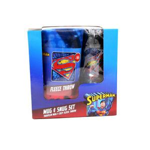2 PC SET SUPERMAN MUG & SNUG SET TRAVEL MUG & COZY FLEECE THROW NEW