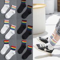 Frauen Mädchen Regenbogen Farben Streifen Socken Winter Warm Mid Cut Socken P3M4