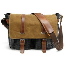 Men's Military Canvas Schoolbag Satchel Cross Body Laptop Shoulder Messenger Bag