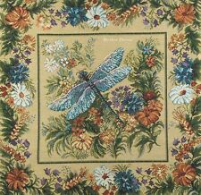 "20"" DECORATIVE TAPESTRY PILLOW COVER Dragonfly & Flowers EUROPEAN CUSHION ACCENT"