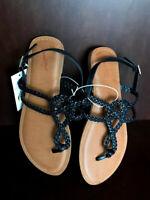 Universal Thread Women's Jana Braided Wide Width Thong Ankle Strap Sandal
